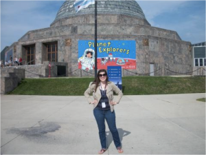 Julie in front of the Adler Planetarium during her internship.