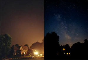 View from Goodwood, Ontario before and after a power blackout (Courtesy Todd Carlson)