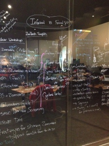 Getting organized CSI style, by writing on the glass walls of our office at the Adler Planetarium.