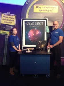 Adler Planetarium floor interpretation volunteers ready to engage museum guests with Cosmic Curves.